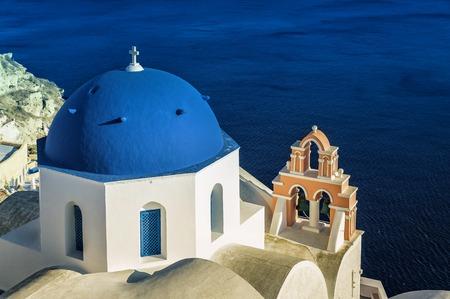 dome: Santorini blue dome churches, Greece Editorial