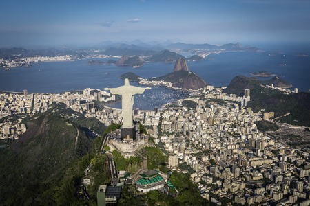 the christ: Rio de Janeiro Brazil : Aerial view of Christ and Botafogo Bay from high angle
