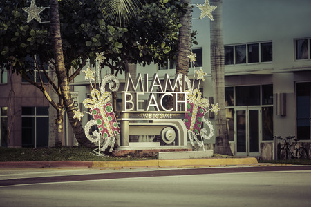 Miami Beach welcome sign with christmas decoration Florida