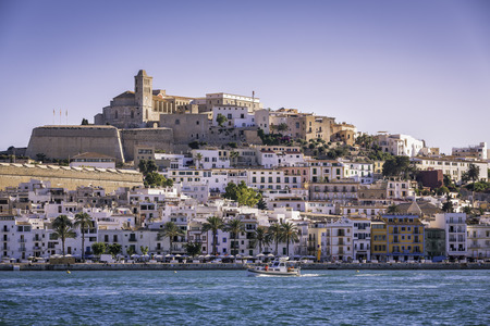 Ibiza Eivissa old town city view, Spain