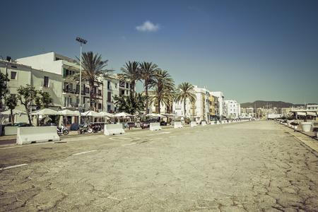 Ibiza Eivissa Old Town street, Spain