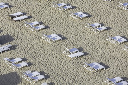 Empty sunbeds on the beach
