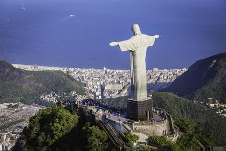 Rio de Janeiro Brazil : Aerial view of Christ and Botafogo Bay from high angle