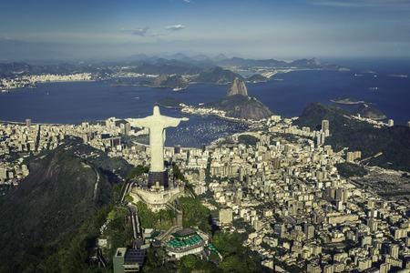 brazil beach: Rio de Janeiro Brazil : Aerial view of Christ and Botafogo Bay from high angle