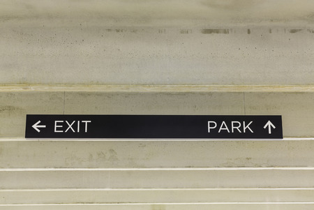 exit sign: Parking garage exit sign