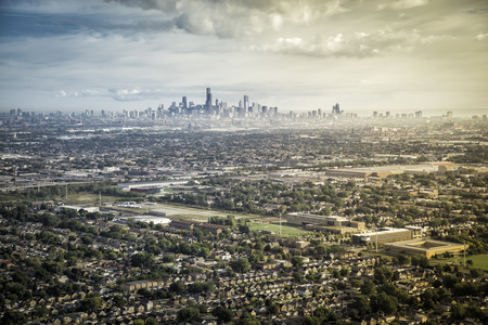 Typical Suburbs Buildings Against Chicago Downtown