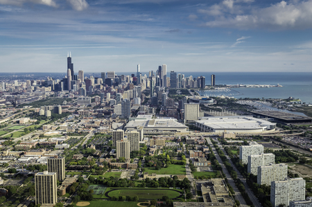 chicago: Aerial view of Chicago Downtown with marina and tall buildings- high angle