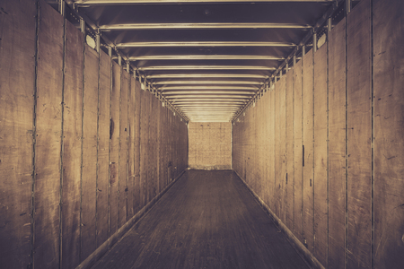 semi: Empty old truck trailer - vintage view Stock Photo