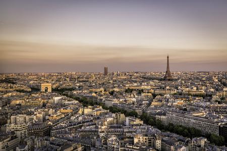 triumphe: Sunset over Paris with Eiffel Tower and Arch de Triumphe, Paris Stock Photo