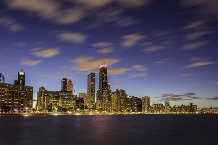 chicago city: Chicago Downtown skyline at dusk - long exposure