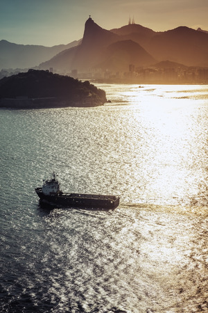 cargo vessel: Aerial view of empty Cargo Vessel against panorama of Rio de Janeiro, Brazil Stock Photo