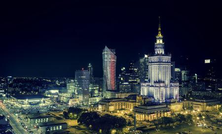 Warszawa downtown w nocy, Polska