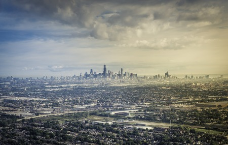 suburbs: Aerial view od Chicago Downtown with suburbs Stock Photo