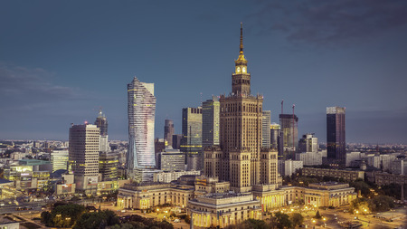 Warsaw downtown sunrise aerial view, Poland Фото со стока