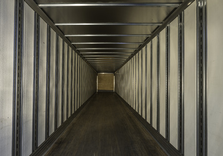 delivery truck: Empty truck trailer