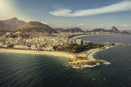 brazil beach: Aerial view of peninsula on the beach in Rio de Janeiro, Brazil