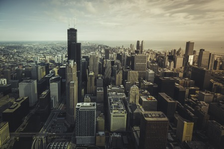 chicago city: Chicago financial district- aerial view with desaturated colors