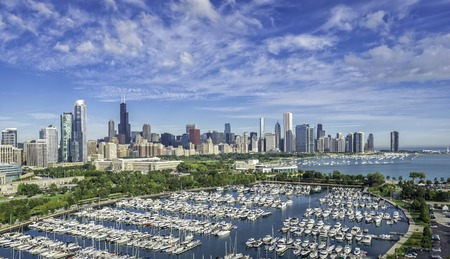 Chicago Skyline aerial view with park and marina full of boats