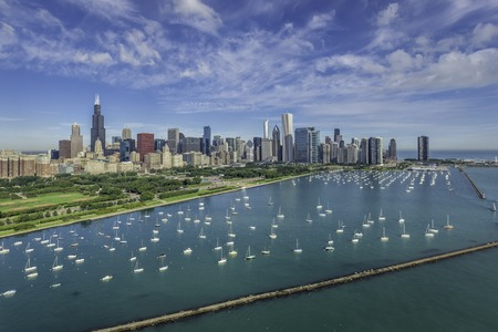 Chicago Skyline aerial view with park and marina
