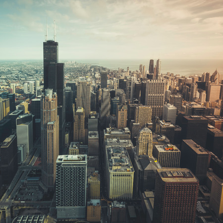 desaturated colors: Chicago financial district- aerial view with desaturated colors
