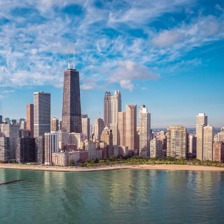 Chicago Skyline aerial view with park and the beach