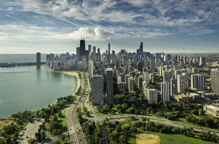 chicago: Chicago Skyline aerial view with road by the beach