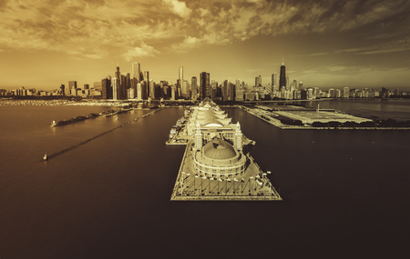desaturated colors: Chicago Skyline aerial view of Navy Pier - desaturated colors