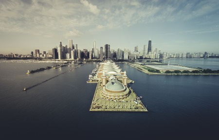 desaturated colors: Chicago Skyline aerial view of Navy Pier - desaturated vintage colors