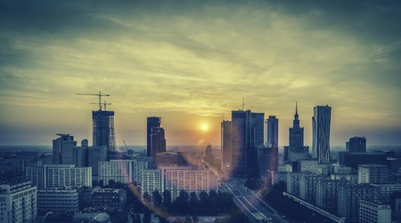 Warsaw Downtown Sunrise aerial view, Poland - Vintage View