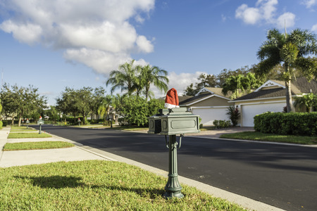 gated: Gated community houses with Christmas decoration in South Florida