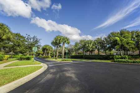 florida house: Gated community road in South Florida