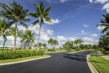 gated: Gated community road to condominiums in South Florida