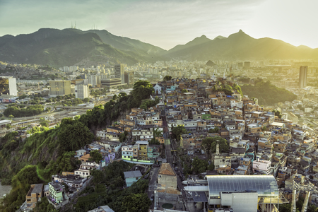 shanty: Rio de Janeiro, Brazil : Aerial view of Shanty Town on the hill in Downtown Rio Stock Photo