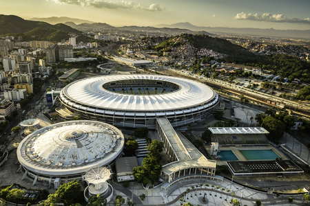 Rio de Janeiro, Brazil : Aerial view of Maracana Stadium from high angle with city panorama