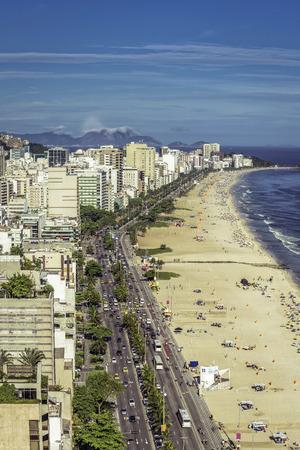 beach panorama: Ipanema Beach panorama, Rio De Janeiro, Brazil