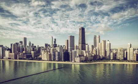 estructura: Chicago vista a�rea de horizonte rascacielos bythe playa, colores de la vendimia