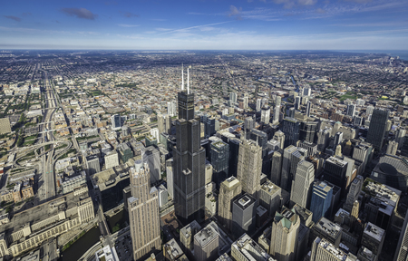 Chicago downtown skyscrapers overhead view Banco de Imagens