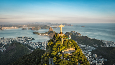 rio: Aerial view of Christ and Botafogo Bay from high angle.