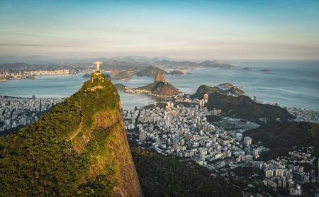 rio de janeiro: Aerial view of Christ and Botafogo Bay from high angle.