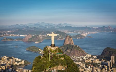 janeiro: Aerial view of Christ and Botafogo Bay from high angle.