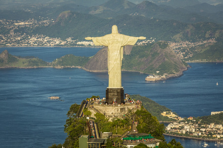redeemer: Aerial view of Christ and Botafogo Bay from high angle.