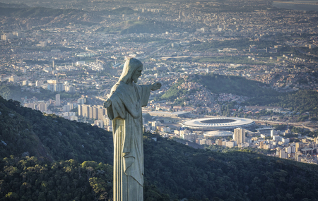 Aerial view of Christ The Redeemer Statue looking at Maracana Stadium. Editorial