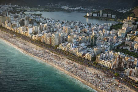 janeiro: Crowded Beach in Rio de Janeiro on carnival afternoon, Brazil