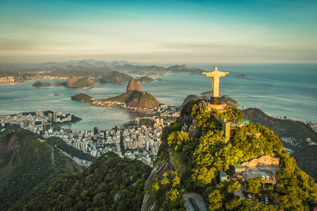 Aerial view of Christ and Botafogo Bay from high angle.