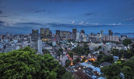 janeiro: Rio de Janeiro downtown dusk panorama, Brazil Stock Photo