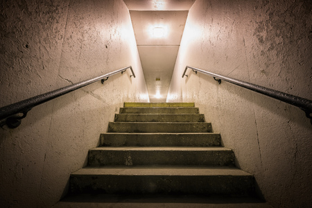 underground passage: Underground passage with stairs going up at night