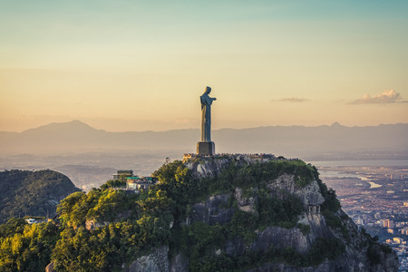 janeiro: Aerial view of Christ The Redeemer Statue with people visiting Corcovado Hill.
