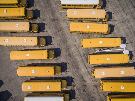 busses: Yellow School Busses aerial top view.