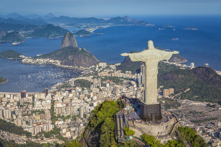 rio: Aerial panorama of Botafogo Bay and Sugar Loaf Mountain, Rio De Janeiro, Brazil