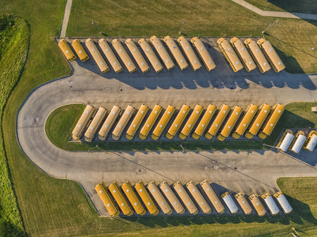 busses: Yellow School Busses aerial top view